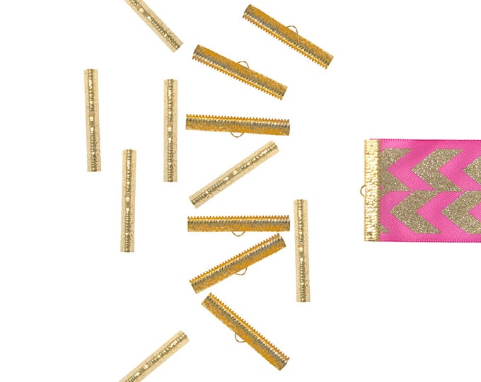 150 pieces  40mm ( 1  9/16 inch ) Gold Ribbon Clamp End Crimps - Artisan Series