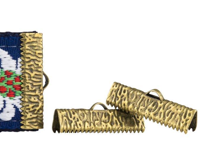 50 pieces   25mm  (1 inch)  Antique Bronze Ribbon Clamp End Crimps - Artisan Series