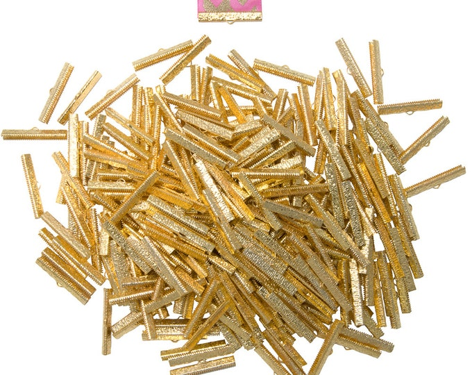 500 pieces  40mm  ( 1 9/16 inch ) Gold Ribbon Clamp End Crimps - Artisan Series