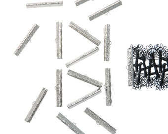 150 pieces  40mm ( 1  9/16 inch ) Platinum Silver Ribbon Clamp End Crimps - Artisan Series