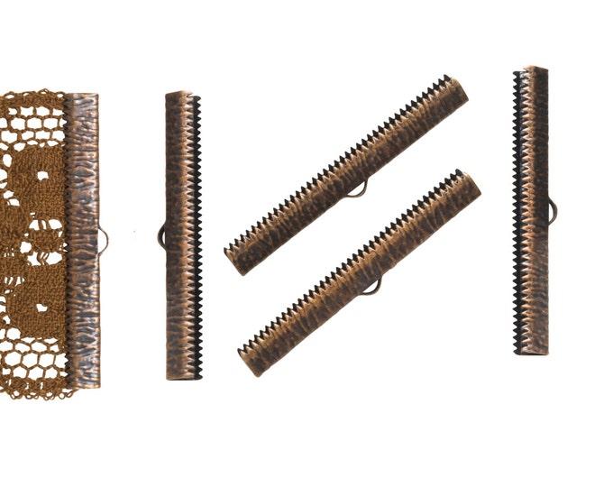 16 pieces  50mm  (2 inch)  Antique Copper Ribbon Clamp End Crimps - Artisan Series