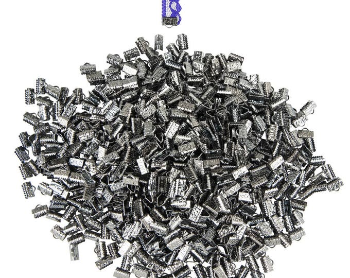 500 pieces. 10mm or 3/8 inch Gunmetal / Gray / Black Chrome Ribbon Clamp End Crimps - with or without loop - Artisan Series