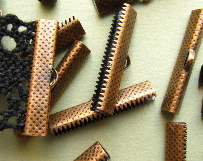 12pcs. 30mm or 1 3/16 inch Antique Copper Ribbon Clamp End Crimps