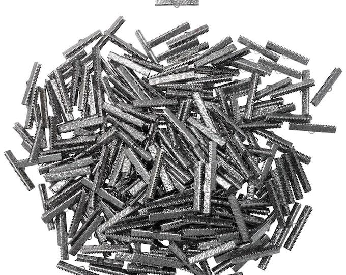 500 pieces  35mm  (1  3/8 inch)  Gunmetal Ribbon Clamp End Crimps - Artisan Series