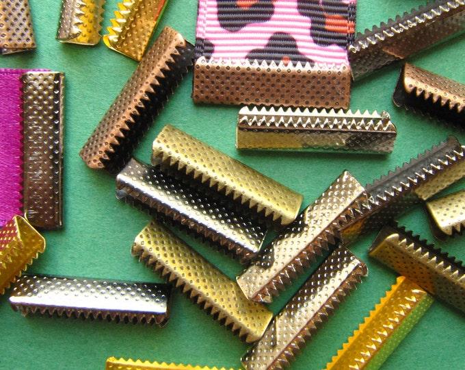 500 pieces 22mm (7/8 inch) No Loop Ribbon Clamps Dots Series -- Platinum Silver, Gold, Gunmetal, Antique Bronze, Antique Copper
