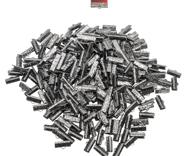 500 pieces  20mm  (3/4 inch)  Gunmetal Ribbon Clamp End Crimps - Artisan Series