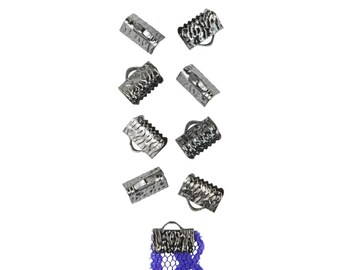 10mm or 3/8 inch Gunmetal Gray Ribbon Clamps End Crimps - with or without loop - Artisan Series - 50 pieces