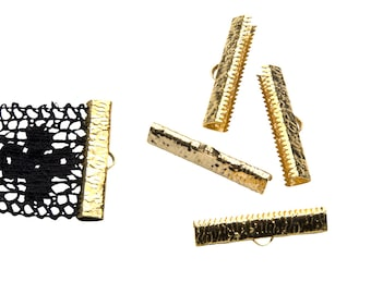 16 pieces  30mm ( 1 3/16 inch ) Gold Ribbon Clamp End Crimps - Artisan Series