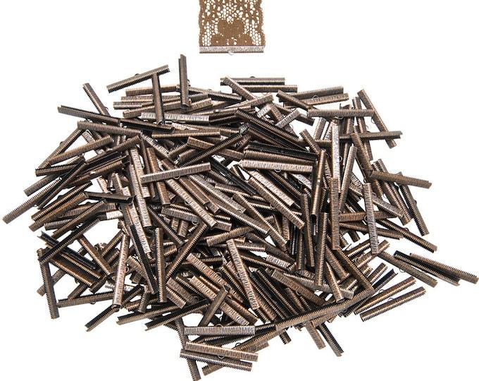 500 pieces  50mm  (2 inch)  Antique Copper Ribbon Clamp End Crimps - Artisan Series