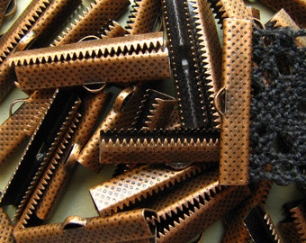 144 pieces 30mm or 1 3/16 inch Antique Copper Ribbon Clamp End Crimps