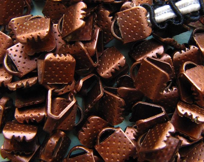 144 pieces 6mm or 1/4 inch Antique Copper Ribbon Clamp End Crimps