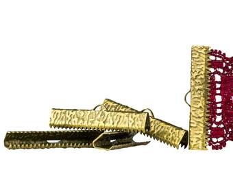 500 pieces  30mm ( 1 3/16 inch )  Antique Bronze Ribbon Clamp End Crimps - Artisan Series