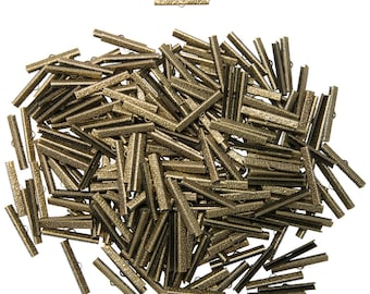 500 pieces  40mm  ( 1 9/16 inch ) Antique Bronze Ribbon Clamp End Crimps - Artisan Series