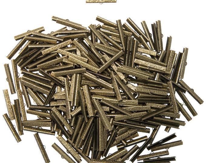 500 pieces  40mm  ( 1 9/16 inch ) Antique Bronze Ribbon Clamp End Crimps - Artisan Series