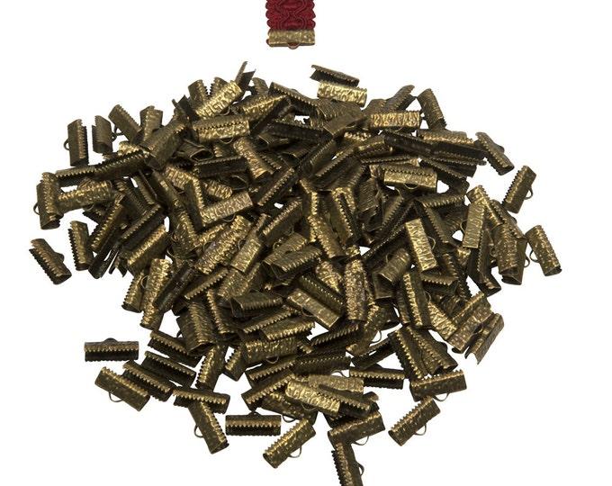 500 pieces  16mm  (5/8 inch)  Antique Bronze Ribbon Clamp End Crimps - Artisan Series