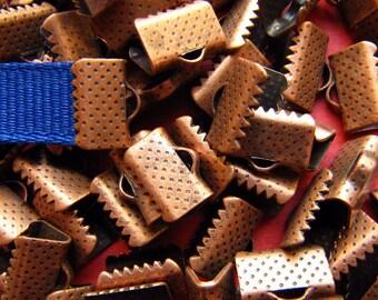 144 pieces 10mm 3/8 inch Antique Copper Ribbon Clamp End Crimps