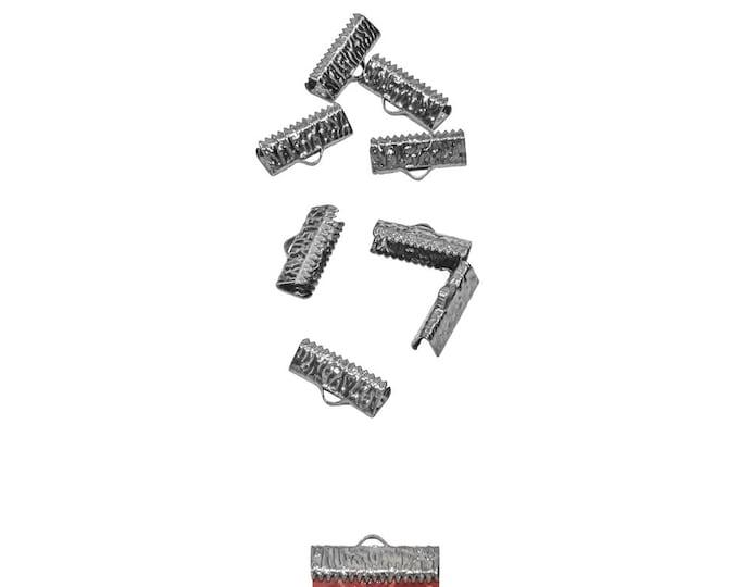 50 pieces  20mm  (3/4 inch) Gunmetal Ribbon Clamp End Crimps - Artisan Series