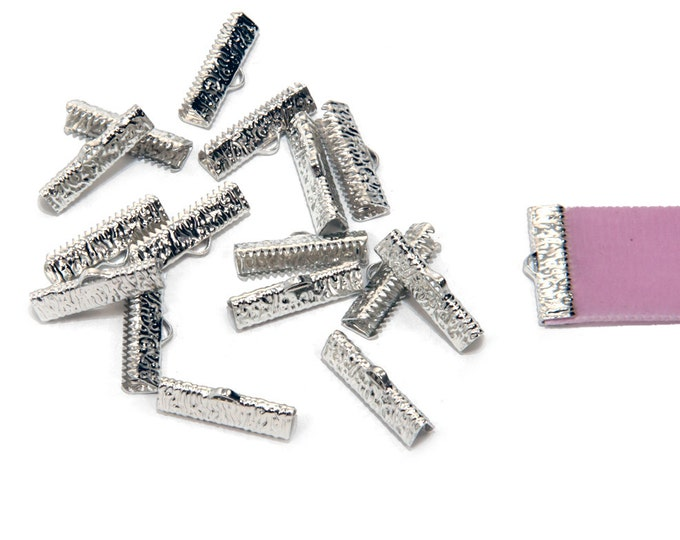 150 pieces  22mm (7/8 inch)  Platinum Silver Ribbon Clamp End Crimps - Artisan Series