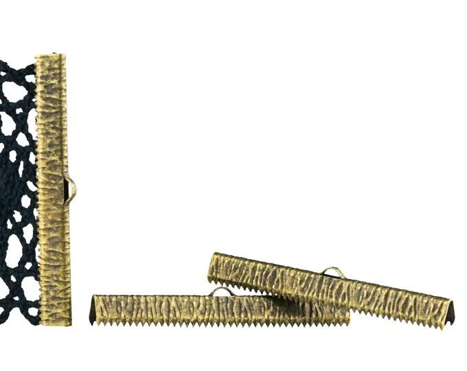 50mm 2 inch Antique Copper Ribbon Clamp End Crimps - Artisan Series - 150 pieces