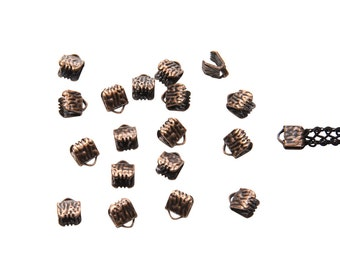 150 pieces  6mm (1/4 inch) Antique Copper Ribbon Clamp End Crimps - Artisan Series