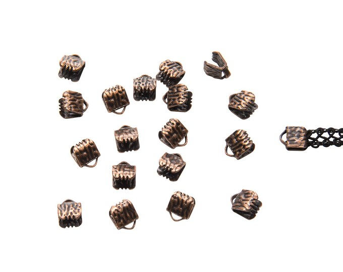 150 pieces  6mm (1/4 inch) Antique Copper Ribbon Clamp End Crimps - Artisan Series