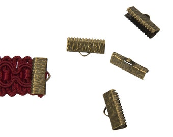 50 pieces  16mm (5/8 inch)  Antique Bronze Ribbon Clamp End Crimps - Artisan Series