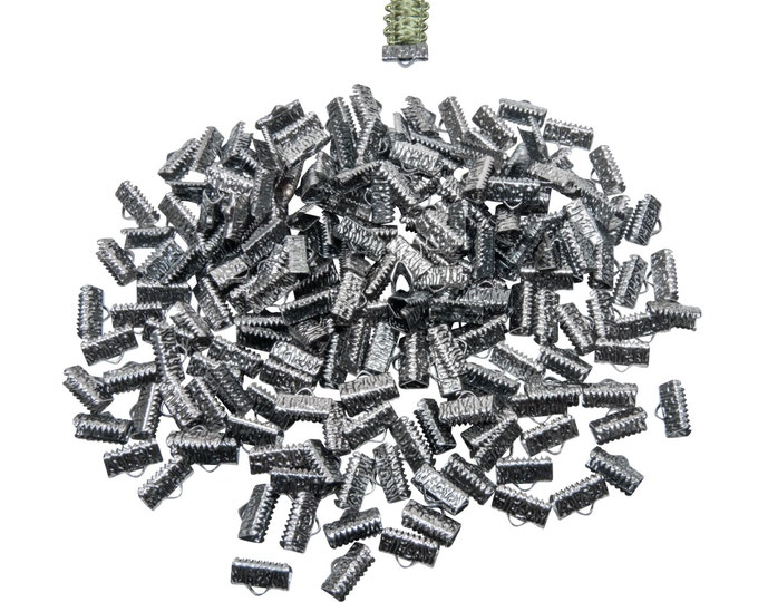 500 pieces  13mm  (1/2 inch)  Gunmetal Ribbon Clamp End Crimps - Artisan Series