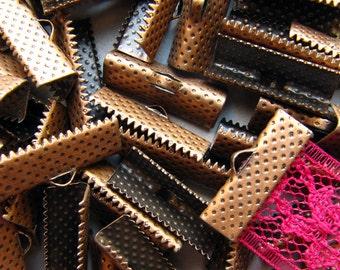 144 pieces 20mm or 3/4 inch Antique Copper Ribbon Clamp End Crimps