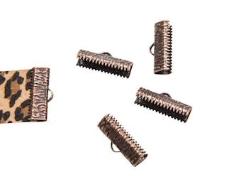 16 pieces  20mm  (3/4 inch)  Antique Copper Ribbon Clamp End Crimps - Artisan Series