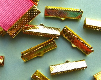 16 pieces 22mm or 7/8 inch Gold Ribbon Clamp End Crimps