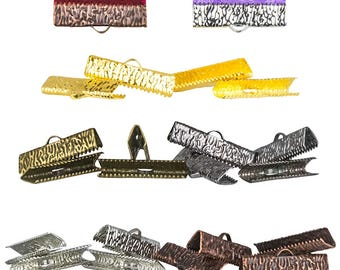 25mm (1 inch) Ribbon Clamps With or Without Loop, Artisan Series -- 20 pieces in Mixed Finishes