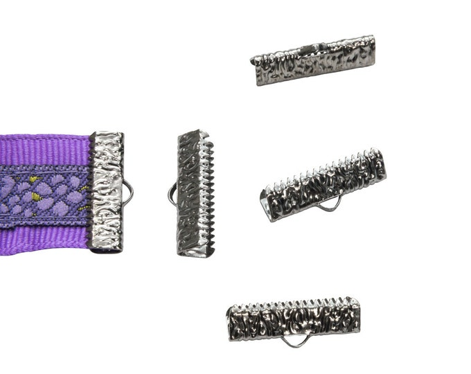 16 pieces  22mm (7/8 inch)  Gunmetal Ribbon Clamp End Crimps - Artisan Series