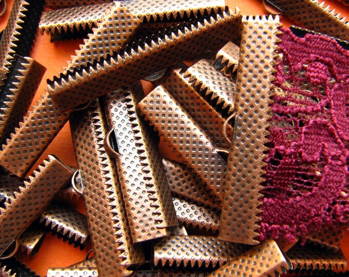 144 pieces 35mm or 1 3/8 inch Antique Copper Ribbon Clamp End Crimps