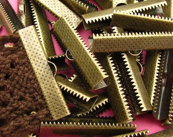 144 pieces 30mm or 1 3/16 inch Bronze Ribbon Clamp End Crimps