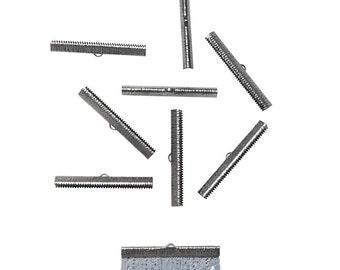 50 pieces  50mm  (2 inch) Gunmetal Ribbon Clamp End Crimps - Artisan Series