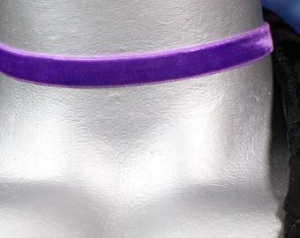 Plain Purple Velvet Choker Necklace - 10mm