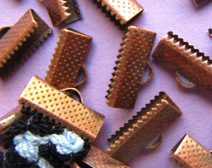 16 pieces 16mm or 5/8 inch Antique Copper Ribbon Clamp End Crimps