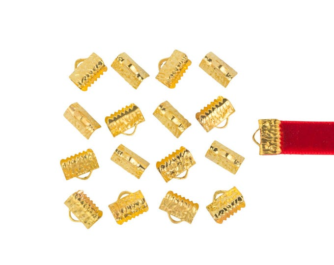 150 pieces 10mm or 3/8 inch Gold Ribbon Clamp End Crimps - with or without loop - Artisan Series