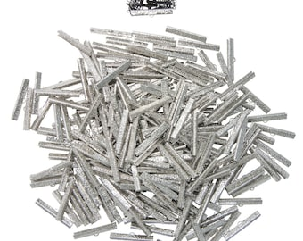 500 pieces  40mm  ( 1 9/16 inch ) Platinum Silver Ribbon Clamp End Crimps - Artisan Series