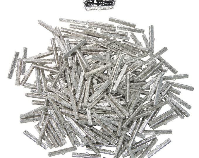 500 pieces  40mm  ( 1 9/16 inch ) Platinum Silver Ribbon Clamp End Crimps - Artisan Series