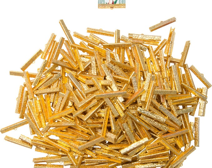500 pieces   35mm  (1 3/8 inch)  Gold Ribbon Clamp End Crimps - Artisan Series