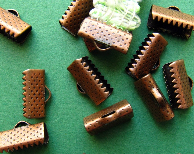 20pcs. 13mm or 1/2 inch Antique Copper Ribbon Clamp End Crimps