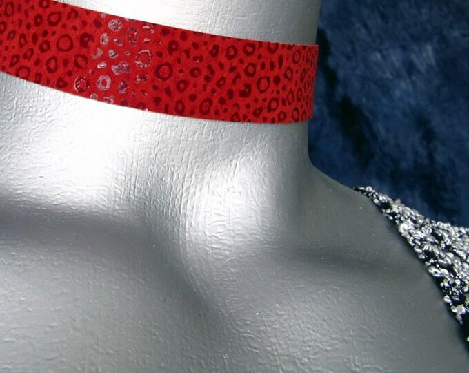Shimmer Leopard Print Black or Red Suede Leather Choker -- Adjustable