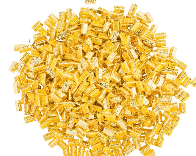 10mm (3/8 inch)  * 500 pieces * NO LOOP * Ribbon Clamp End Crimps - Silver, Gold, Gunmetal, Bronze, & Copper - Artisan Series