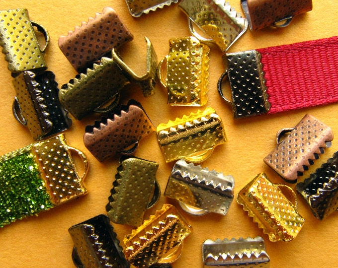 500 pieces 10mm (3/8 inch) Ribbon Clamps Dots Series with Loop -- Platinum Silver, Gold, Antique Bronze, Antique Copper