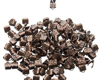 500 pieces  6mm (1/4 inch) Antique Copper Ribbon Clamps End Crimps - Artisan Series