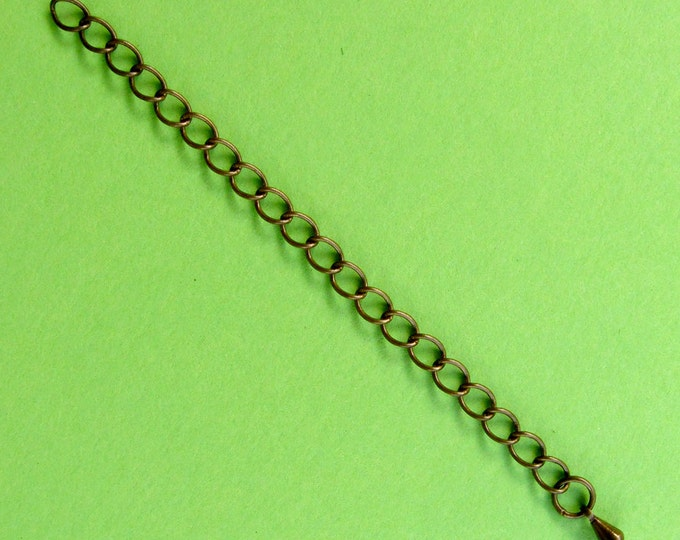 8 Closed Link Antique Bronze Extension Chains -- 3 inches long