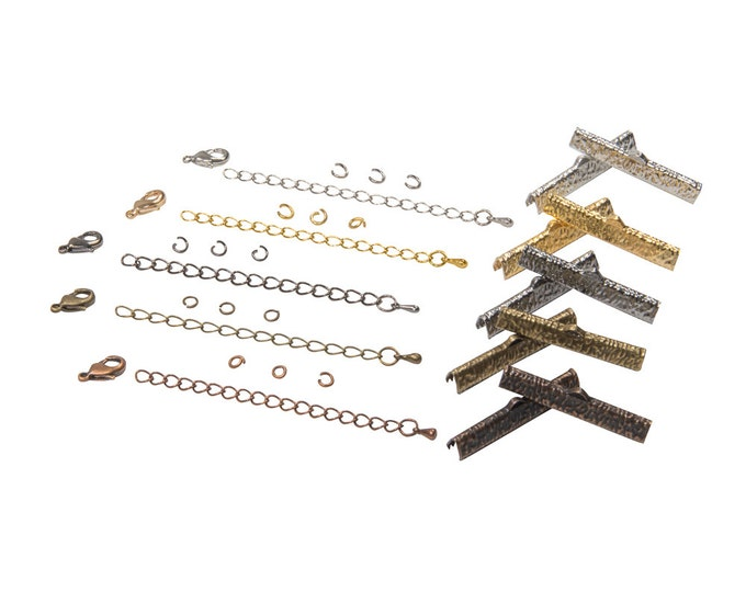 35mm (1 3/8 inch) Ribbon Choker Findings Kit in Antique Bronze, Gold, Platinum Silver, Gunmetal, Copper, Mixed - Artisan & Dots Series