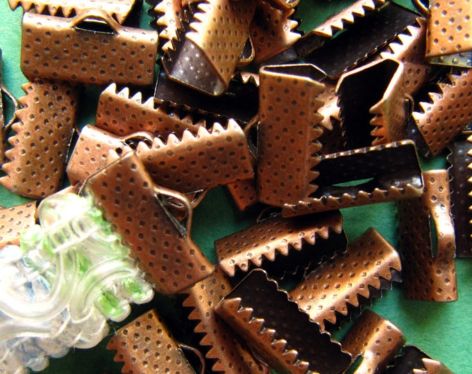 144 pieces 13mm or 1/2 inch Antique Copper Ribbon Clamp End Crimps