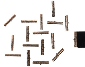 150 pieces  35mm (1 3/8 inch)  Antique Copper Ribbon Clamp End Crimps - Artisan Series